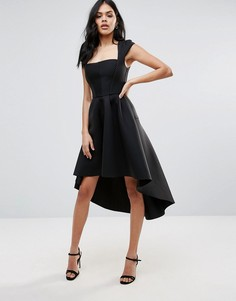 Платье асимметричной длины с квадратной горловиной City Goddess - Черный