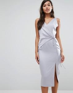 Атласное платье миди Lavish Alice - Синий