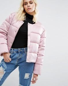 Дутая оversize-куртка из премиум-атласа без воротника Puffa - Розовый