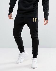 Суперузкие джоггеры с золотистым логотипом 11 Degrees - Черный