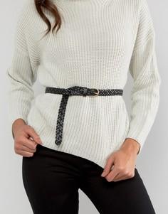 Плетеный кожаный ремень Pieces Avery - Черный