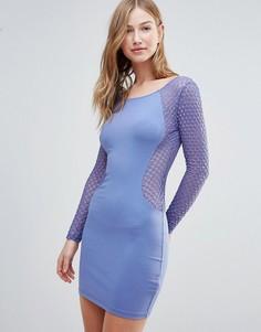 Облегающее платье с сетчатыми вставками Motel - Синий