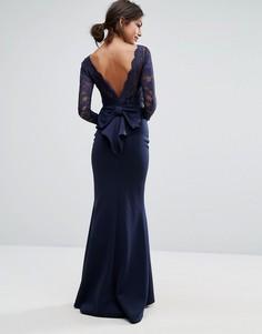 Платье макси с кружевным топом и бантом сзади City Goddess - Темно-синий