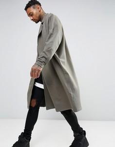 Длинная легкая оversize-куртка из трикотажа ASOS - Зеленый