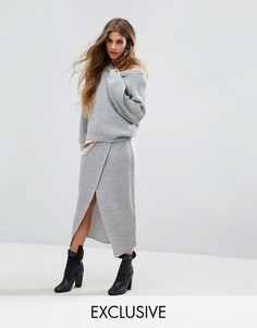 Вязаная юбка с запахом Rokoko Co-Ord - Серый