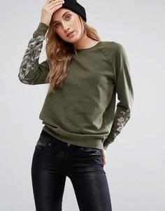 Свитшот с цветочным принтом на рукавах New Look - Зеленый