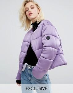 Дутая оversize-куртка из премиум-атласа без воротника Puffa - Фиолетовый