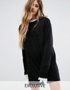 Платье-футболка с очень длинными рукавами Reclaimed Vintage - Черный