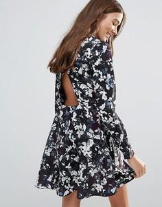 Платье с воротником и принтом Neon Rose - Мульти