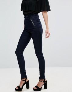 Зауженные джинсы стретч с завышенной талией Goldie Ride The Storm - Синий