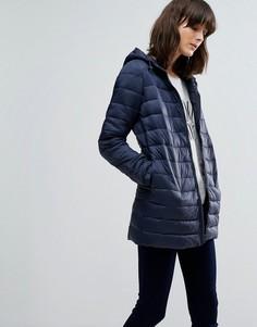Облегающая стеганая куртка с капюшоном JDY Mash - Синий