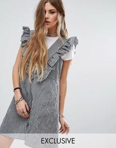 Платье в клеточку с рюшами Reclaimed Vintage - Мульти
