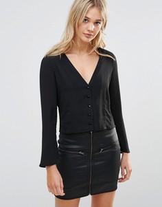Блузка с расклешенными рукавами Neon Rose - Черный