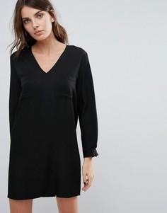 Платье с V-образным вырезом Neon Rose - Черный