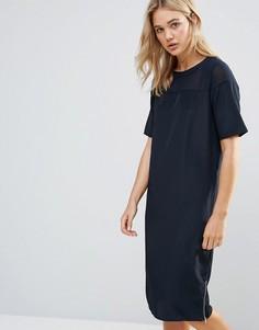 Платье-кокон с полупрозрачной вставкой Neon Rose - Темно-синий