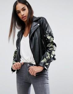 Байкерская куртка из искусственной кожи с цветочной вышивкой Missguided - Черный