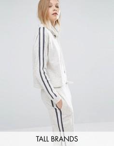 Укороченное худи с контрастными полосками и затягивающимся шнурком Y.A.S Tall Minna - Кремовый