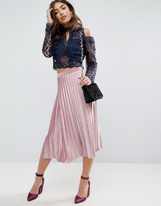 Плиссированная вельветовая юбка миди ASOS - Розовый