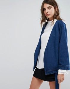 Джинсовая куртка с поясом Neon Rose - Синий