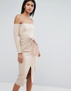 Платье миди с завязкой спереди Lavish Alice - Бежевый