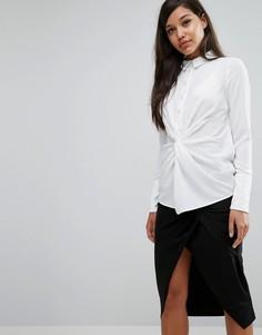Рубашка с перекрутом спереди Lavish Alice - Белый