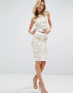 Вязаная юбка-карандаш с цифровым принтом в стиле барокко Versace Jeans - Белый