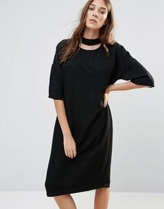 Платье миди с высоким воротом Neon Rose - Черный