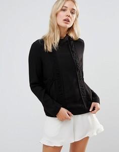 Блузка с высоким воротом Neon Rose - Черный