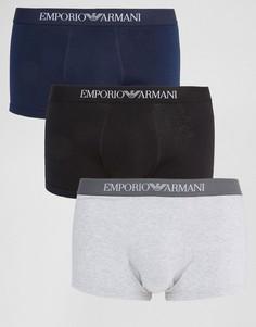 3 хлопковых бокеров‑брифов Emporio Armani - Мульти