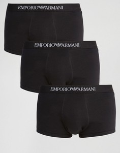 3 хлопковых бокеров‑брифов Emporio Armani - Черный
