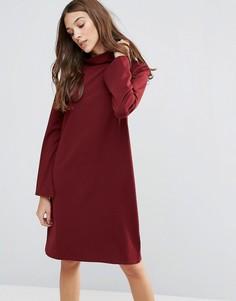 Расклешенное платье с высоким воротом Neon Rose - Красный