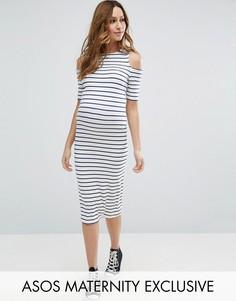 Облегающее платье в полоску для беременных ASOS Maternity - Мульти