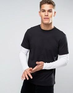 Черный лонгслив с двухслойным дизайном New Look - Черный