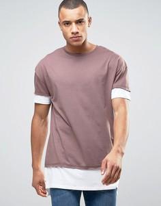 Длинная ярусная футболка лилового цвета New Look - Фиолетовый