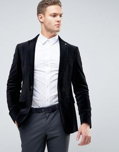 Узкий бархатный блейзер Burton Menswear - Черный