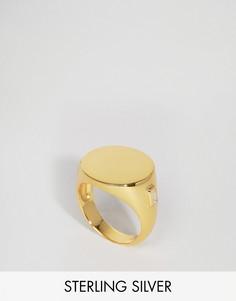 Позолоченное серебряное кольцо-печатка Lavish Alice - Золотой