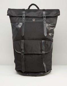 Парусиновый рюкзак ролл-топ с кожаной отделкой Stighlorgan Ronan - Черный