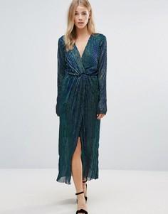 Полупрозрачное платье с длинными рукавами First & I - Синий