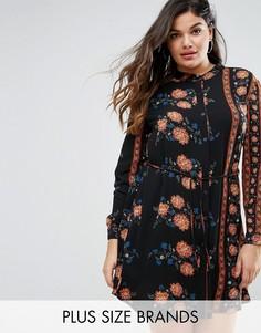 Платье-рубашка с цветочным принтом Boohoo Plus - Мульти