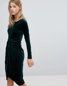 Асимметричное бархатное платье First & I - Зеленый
