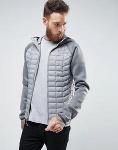 Утепленная серая куртка с капюшоном со стеганой отделкой/из неопрена The North Face Thermoball - Серый