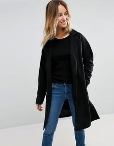 Пальто с поясом First & I - Черный