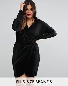 Плиссированное платье с запахом Club L Plus - Черный