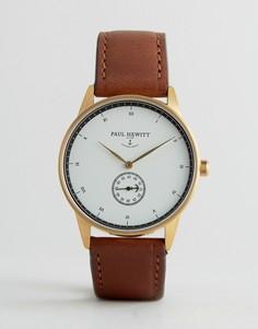 Часы с коричневым кожаным ремешком Paul Hewitt 38 мм - Коричневый