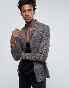 Рубашка узкого кроя с цветочным принтом AllSaints - Черный