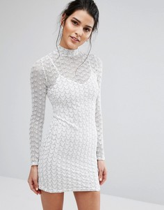 Облегающее платье с зигзагообразным узором Oh My Love - Белый
