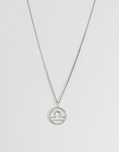 Fashionology Sterling Silver Libra Zodiac Necklace - Серебряный