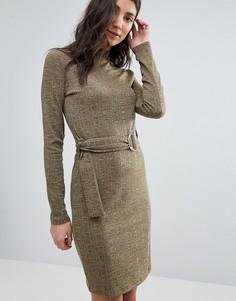 Трикотажное платье с поясом First & I - Зеленый