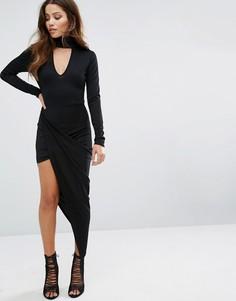 Асимметричное платье с лентой на горловине Club L - Черный