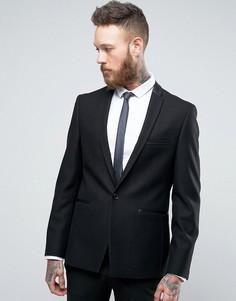 Узкий блейзер с атласной отделкой Burton Menswear - Черный